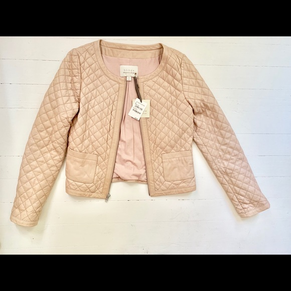 d81ba46b95 Chanel style quilted leather jacket in blush NWT